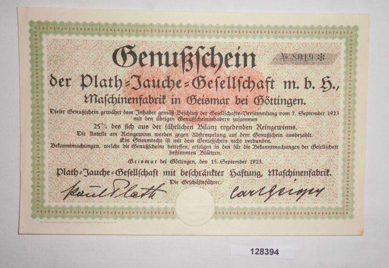 25 % Genussschein Plath Jauche Gesellschaft mbH Maschinenfabrik Geismar (128394)