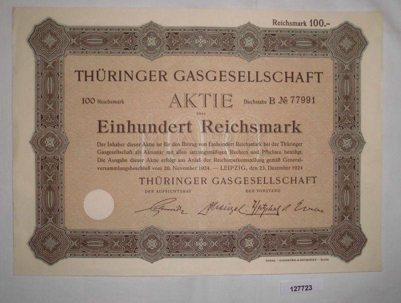 100 Reichsmark Aktie Thüringer Gasgesellschaft Leipzig 23. Dez. 1924  (127723)