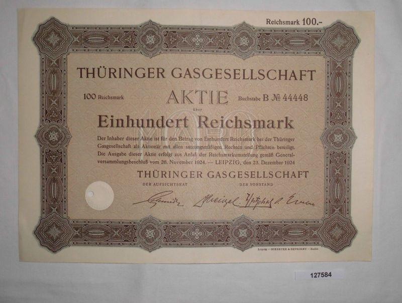 100 Reichsmark Aktie Thüringer Gasgesellschaft Leipzig 23. Dez. 1924  (127584)