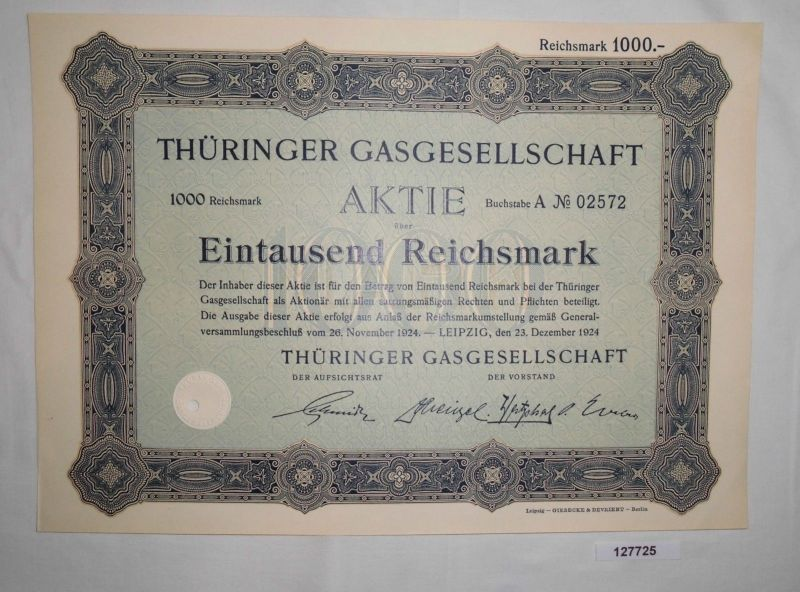 1000 Reichsmark Aktie Thüringer Gasgesellschaft Leipzig 23. Dez. 1924  (127725)