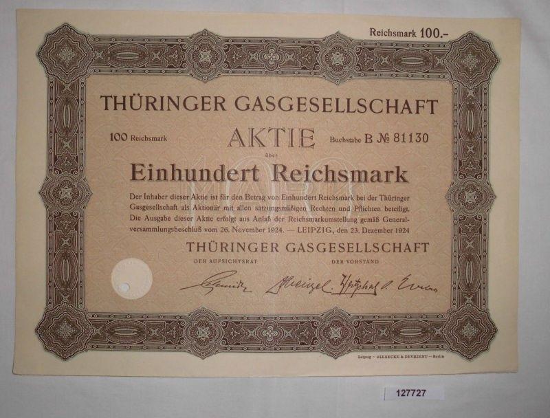 100 Reichsmark Aktie Thüringer Gasgesellschaft Leipzig 23. Dez. 1924  (127727)