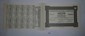 20 Reichsmark Aktie Oberrheinische Bauindustrie AG Freiburg 28.11.1924 (128400)