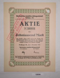 10000 Mark Aktie Oberrheinische Immobilien AG Freiburg 1. November 1923 (128390)
