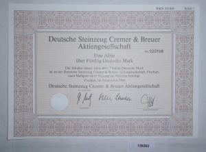 50 Mark Aktie Deutsche Steinzeug Cremer & Breuer AG Frechen Sept. 1994 (128363)