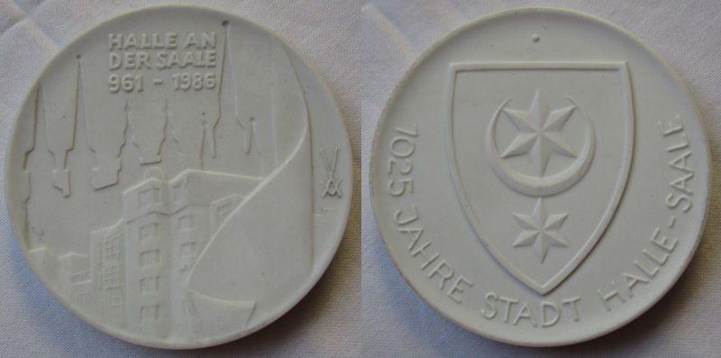 Porzellan Medaille 1025 Jahre Stadt Halle an der Saale 961 - 1986 (119000)