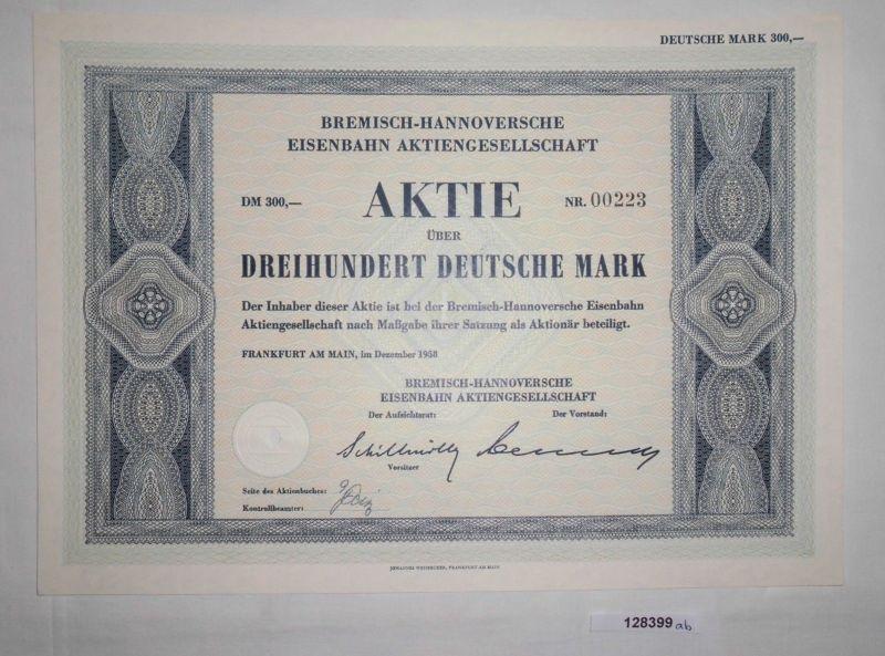 300 Mark Aktie Bremisch-Hannoversche Eisenbahn AG Frankfurt Dez. 1958 (128399)