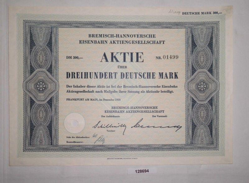 300 Mark Aktie Bremisch-Hannoversche Eisenbahn AG Frankfurt Dez. 1958 (128694)