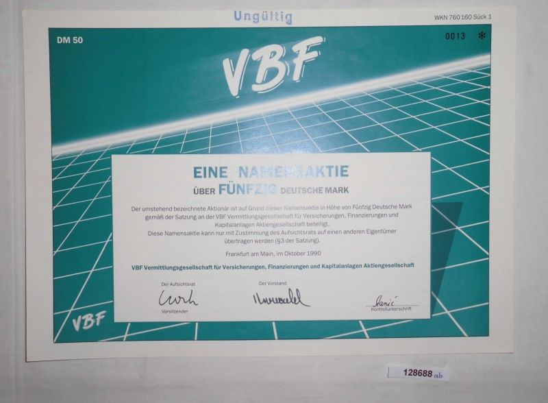 50 Mark Aktie VBF Vermittlungsgesellschaft Frankfurt am Main Okt. 1990 (128688)