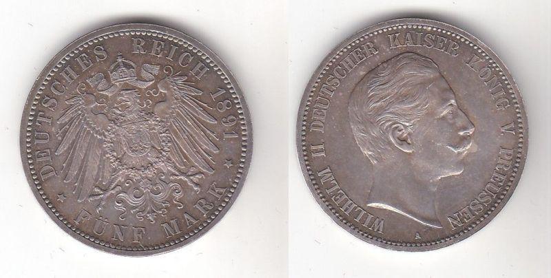 5 Mark Silber Münze Preussen Wilhelm II 1891 A Stgl. (119418)