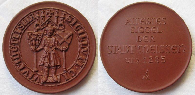 Meissner Porzellan Medaille Ältestes Siegel der Stadt Meissen um 1285 (118409)