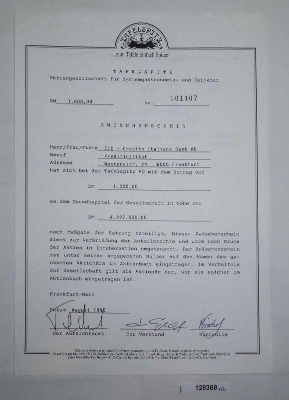 1000 Mark Aktie Tafelspitz AG für Systemgastronomie- & Feinkost 1990 (128368)
