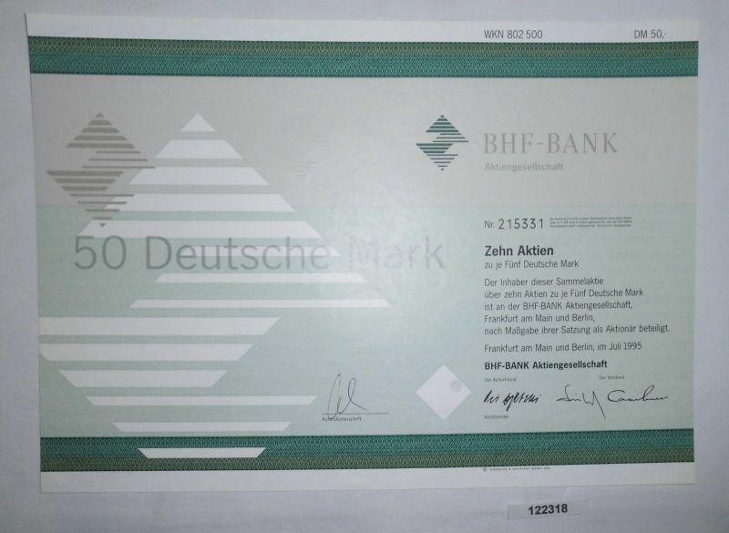 5 Mark zehn Aktien BHF-Bank AG Frankfurt am Main und Berlin Juli 1995 (122318)