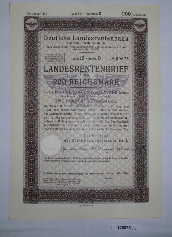 200 Reichsmark Landesrentenbrief Deutsche Landesrentenbank Berlin 1939 (128075)