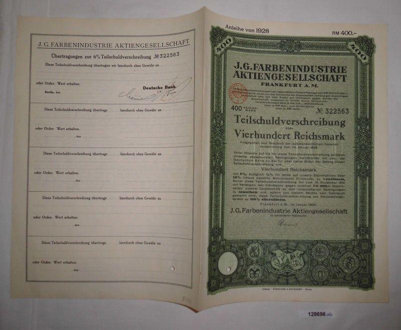 400 Reichsmark Schuldverschreibung IG Farbenindustrie AG Frankfurt 1928 (128696)