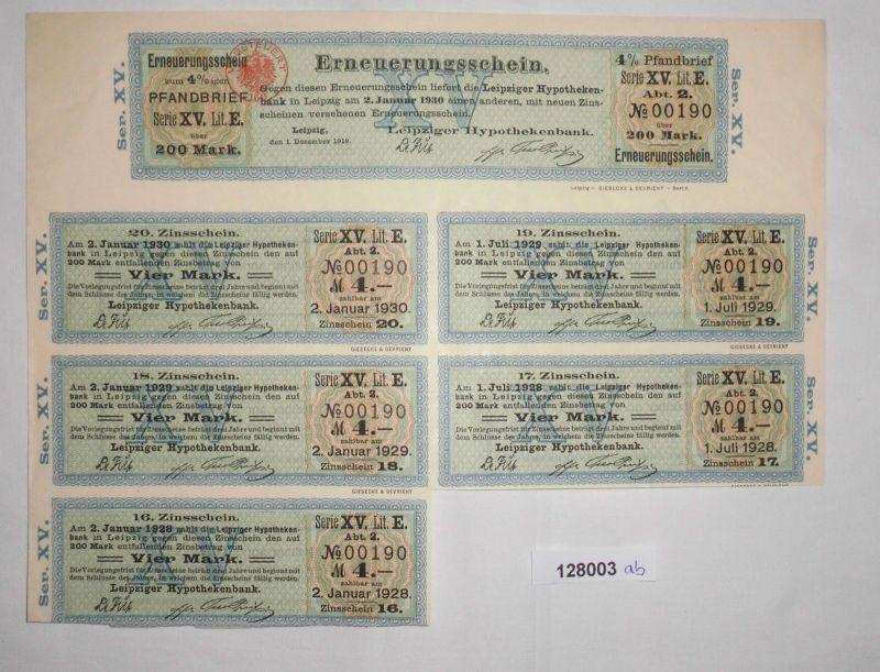 200 Mark Erneuerungsschein Leipziger Hypothekenbank 2. Januar 1930 (128003)