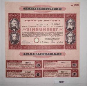100 Reichsmark Aktie IG Farbenindustrie AG Frankfurt Main März 1953 (128371)