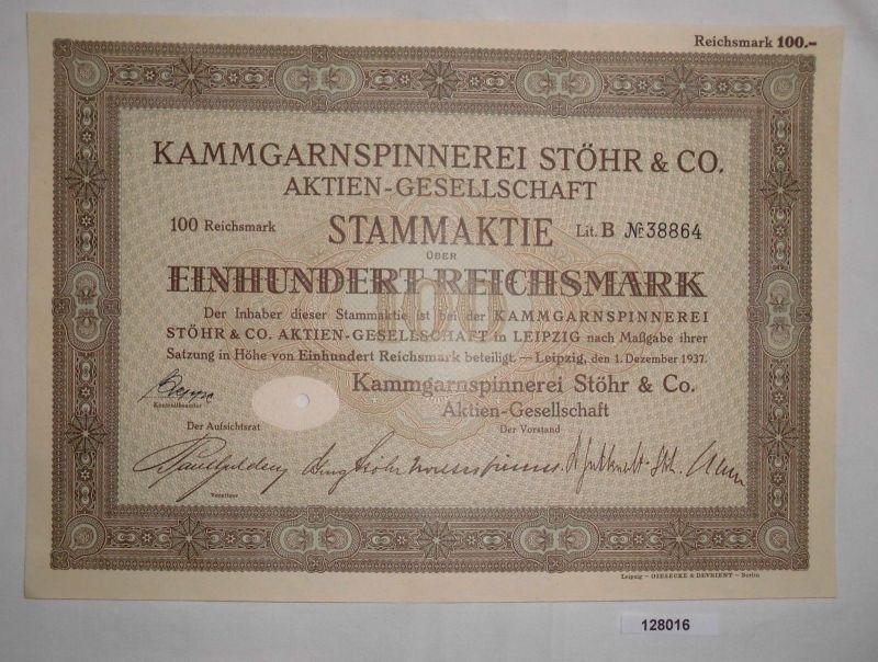 100 Reichsmark Stammaktie Kammgarnspinnerei Stöhr & Co. AG 1. Dez. 1937 (128016)