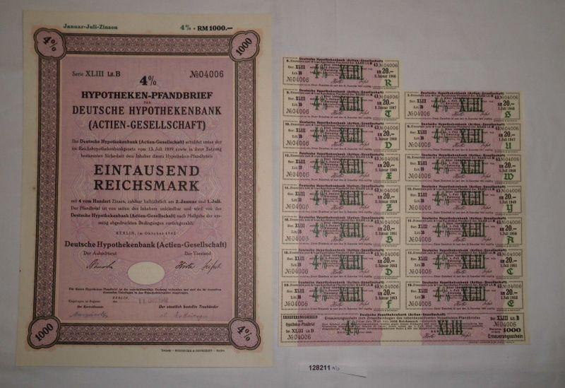 1000 Reichsmark Pfandbrief Deutsche Hypothekenbank AG Berlin 1942 (128211)