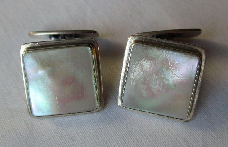 Zeitlos elegante 835er Silber Manschettenknöpfe Perlmutt Hammerschlag (129409)