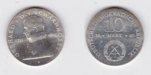 DDR Gedenk Silber Münze 10 Mark Gerhard J.D. v. Scharnhorst 1980 Stgl. (129623)