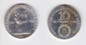 DDR Gedenk Silber Münze 10 Mark Gerhard J.D. v. Scharnhorst 1980 Stgl. (129711)