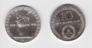 DDR Gedenk Silber Münze 10 Mark Gerhard J.D. v. Scharnhorst 1980 Stgl. (129534)