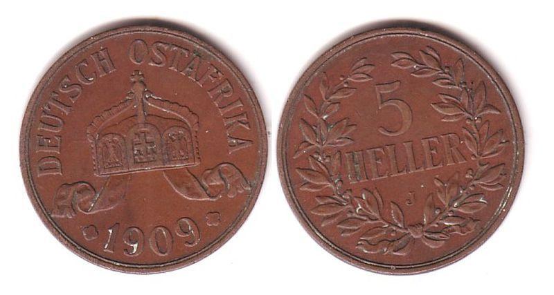 5 Heller Kupfer Münze Deutsch Ostafrika DOA 1909 J