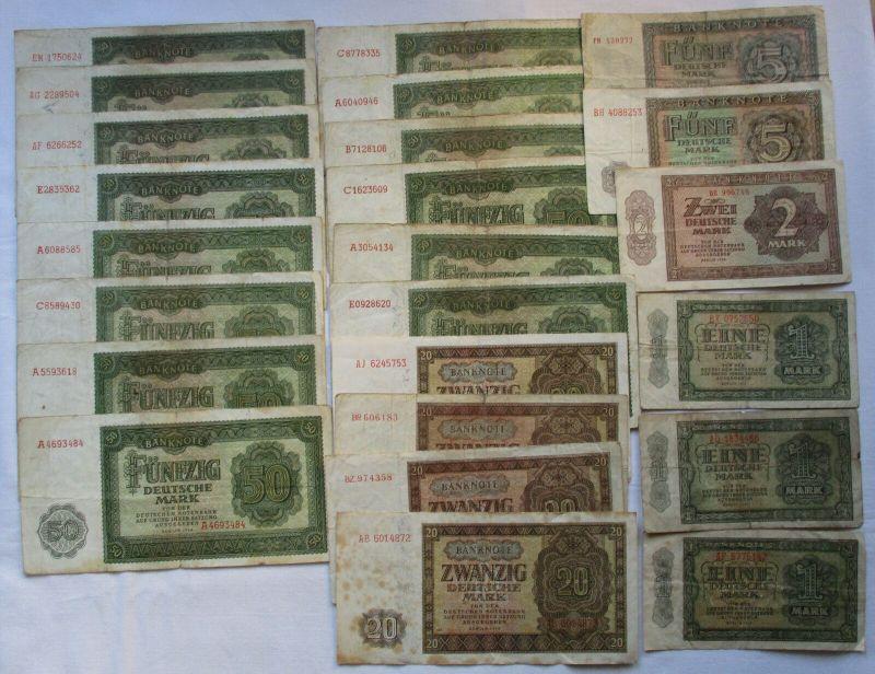 Konvolut mit 24 Banknoten 1,2,5,20 und 50 Mark DDR 1948-1955 (129442)