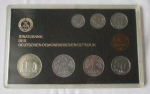 Kompletter DDR Kursmünzensatz KMS mit 5 Mark Dresden 1985 Stgl. in OVP (104626)