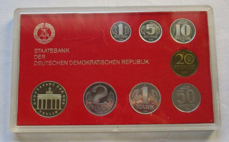 Kompletter DDR Kursmünzensatz (KMS) mit 5 Mark 1982 PP in OVP (129778)