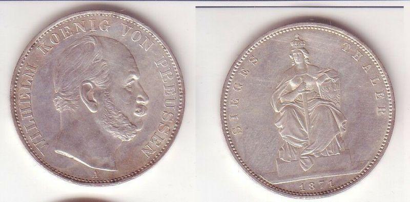 Schöne Silber Münze 1 Siegestaler Preussen 1871 ss/ vz (104830)
