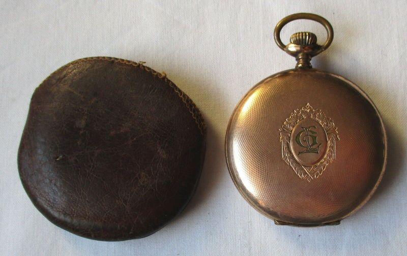 Elegante Savonette Taschenuhr Geneva Watch Case Co. mit Etui um 1910 (129464)