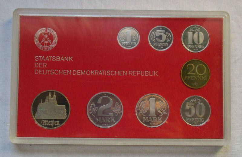 Kompletter DDR Kursmünzensatz (KMS) mit 5 Mark Meißen 1983 PP in OVP (129784)