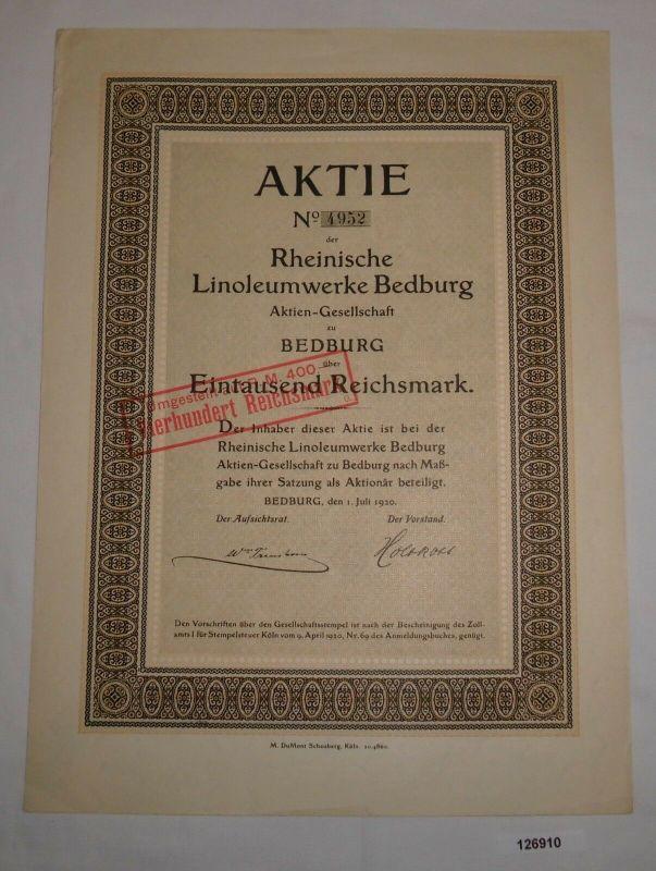 1000 RM Aktie Rheinische Linoleumwerke Bedburg AG 1. Juli 1920 (126910)