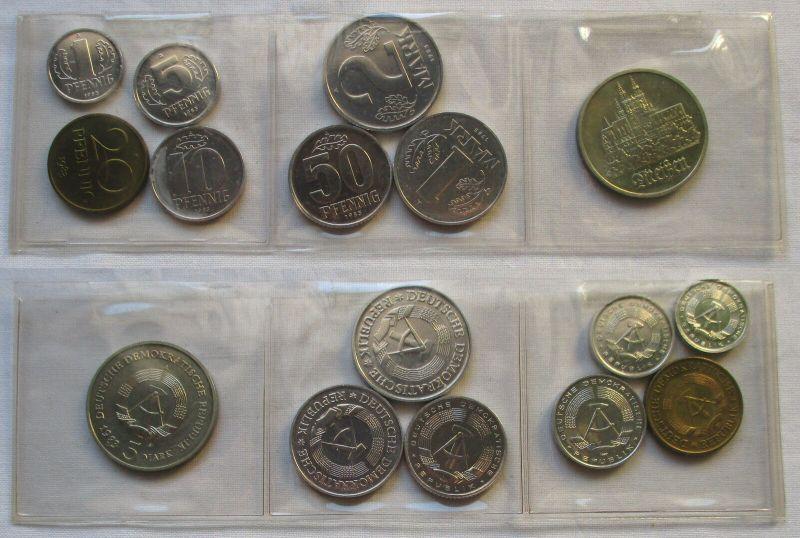 Kompletter DDR Kursmünzensatz (KMS) mit 5 Mark Meißen 1983 Stempelglanz (129738)