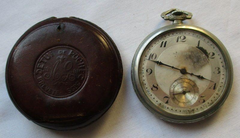 Elegante Taschenuhr Mephisto Swiss Made mit Leder Taschenetui um 1900 (129465)