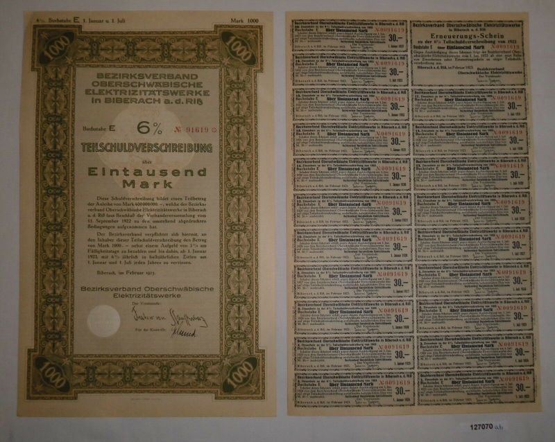 1000 Mark Schuldver. Bezirksverband Oberschwäbische Elektrizitätswerke (127070)