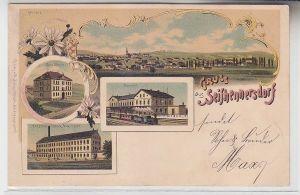 04847 Ak Lithographie Gruß aus Seifhennersdorf Bahnhof, Schule, Fabrik 1900