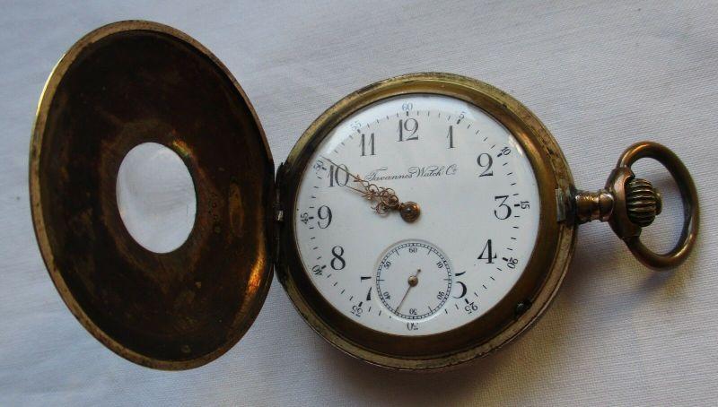 Halbsavonette Taschenuhr Tavannes Watch Co. Walzgold um 1910 (129405)