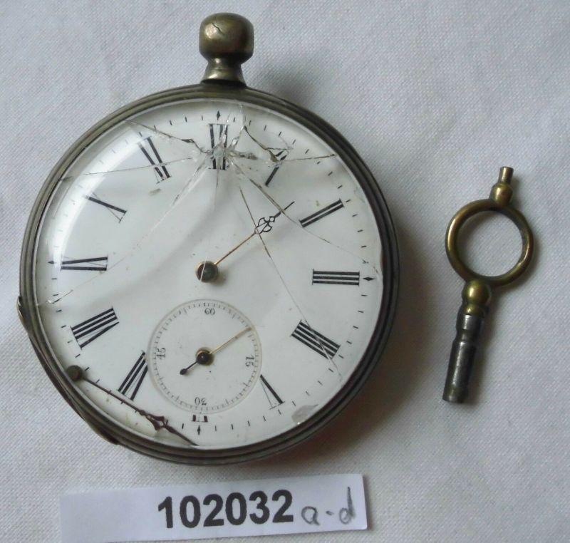 Schöne silberne Herren Taschenuhr Paul Wacker Quedlinburg um 1900 (102032)