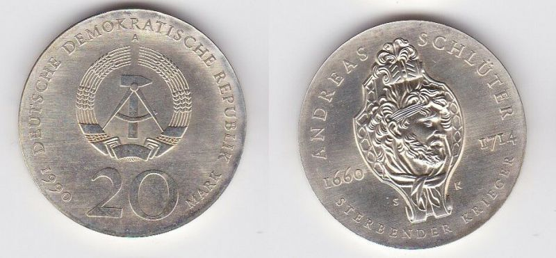 DDR Münze 20 Mark, 275. Todesstag von Andreas Schlüter 1990 (128499)