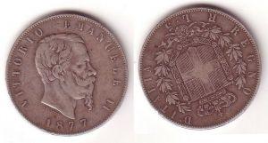 5 Lira Silber Münze Italien Vittorio Emanuele 1877 (108098)