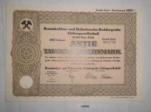 1000 RM Aktie Braunkohlen- & Briketwerke Roddergrube AG Brühl Juli 1935 (128956)