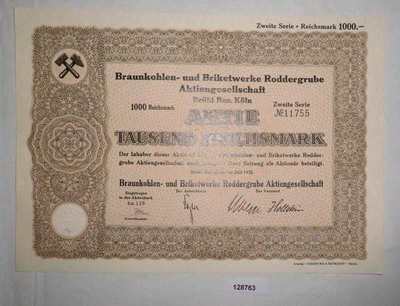 1000 RM Aktie Braunkohlen- & Briketwerke Roddergrube AG Brühl Juli 1935 (128763)