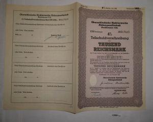 1000 RM Schuldverschreibung Oberschlesische Hydrierwerke Blechhammer (128881)