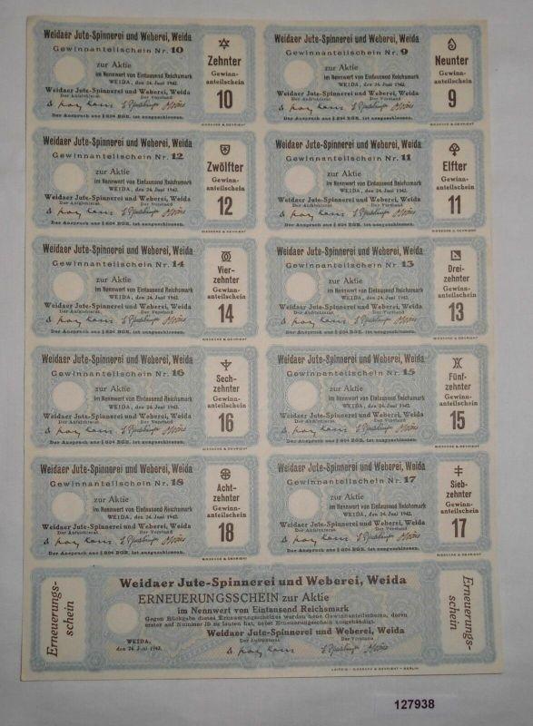 1000 RM Zinsschein Weidaer Jute-Spinnerei und Weberei 24. Juni 1962 (127938)