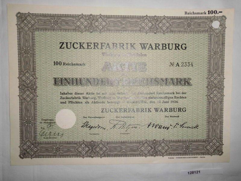 100 RM Aktie Zuckerfabrik Warburg in Westfalen 12. Juni 1934 (128121)
