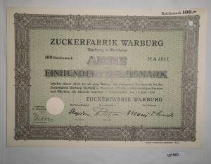 100 RM Aktie Zuckerfabrik Warburg in Westfalen 12. Juni 1934 (127960)
