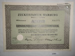 100 RM Aktie Zuckerfabrik Warburg in Westfalen 12. Juni 1934 (127961)