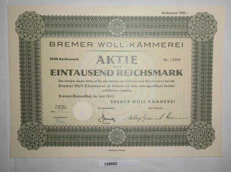 100 RM Aktie Bremer Woll-Kämmerei Bremen-Blumenthal Juni 1942 (128952)